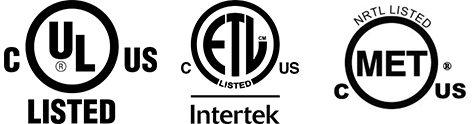 Logos of UL, ETL, MET certified NRTLs for EV Charging Stations