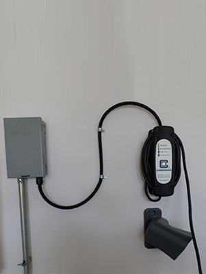 level 2 ev charger with connector holster