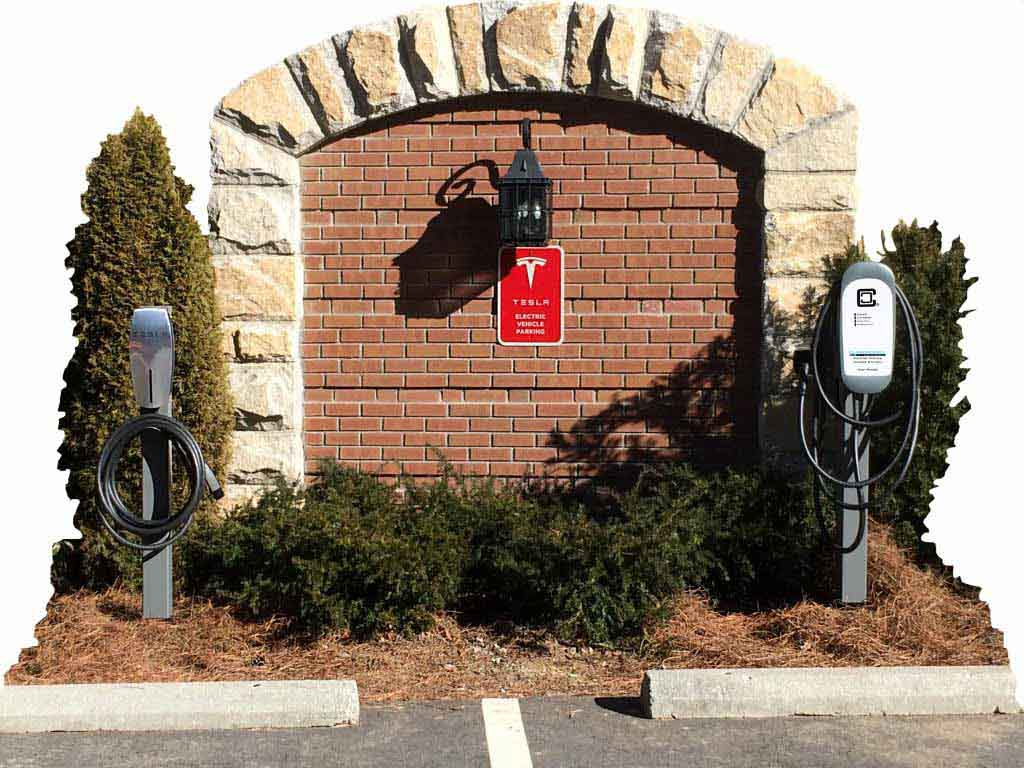tesla and ClipperCreek electric car charging stations at Old Edwards Inn