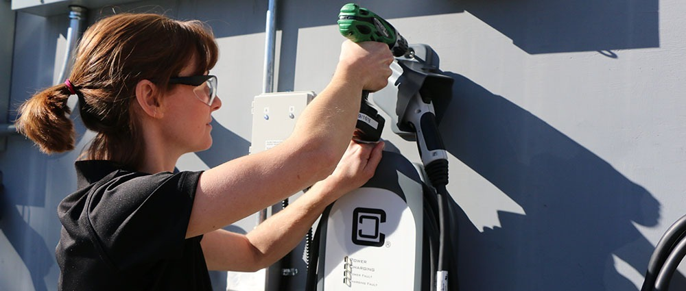 Stacey performing clippercreek charging station install