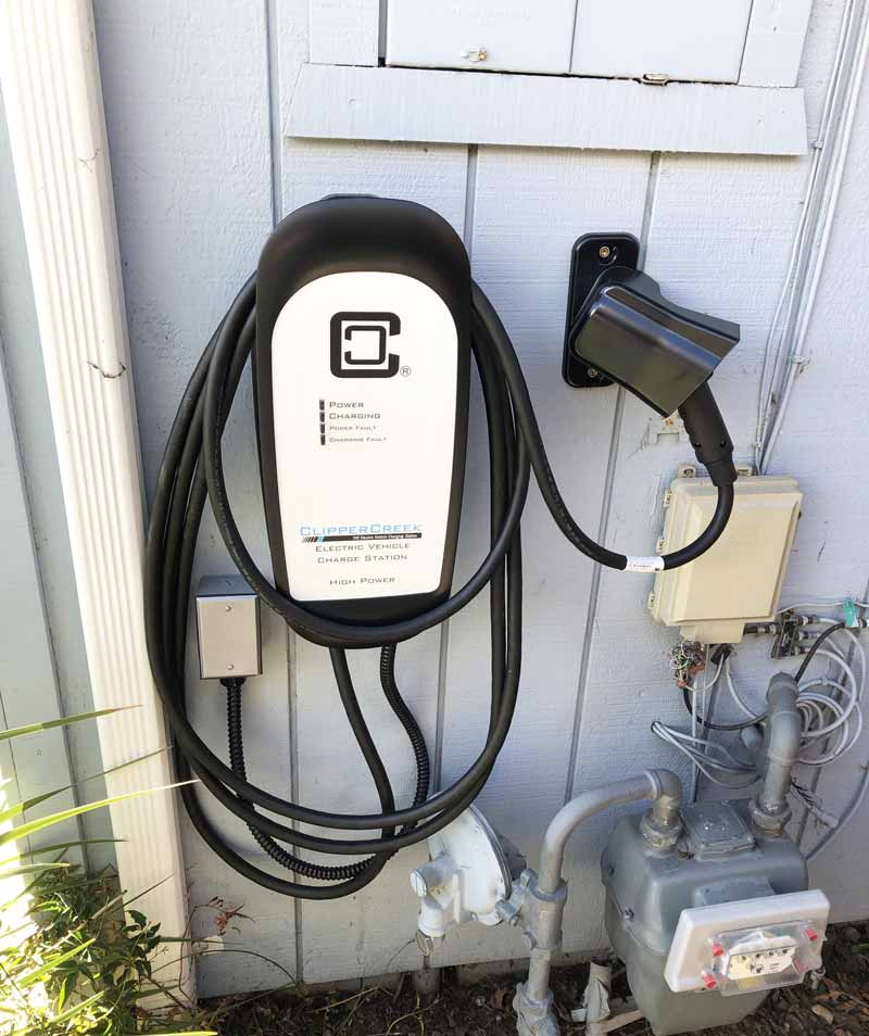 Hardwired HCS ClipperCreek Charging Station Installed Outside